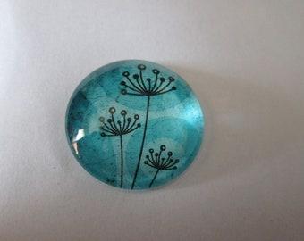 A dandelion flower 25 mm round glass cabochon