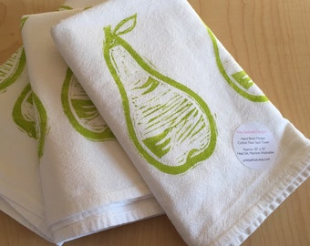 Green Pear Kitchen Towel - Fruit Tea Towel - Soft Cotton Flour Sack Towel - Hand Block Printed Green Pear Kitchen Towel - Hostess Gift