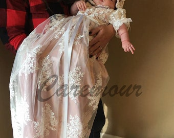 Stunning Alencon Lace Christening Gown, Baptism dress, Girls Christening Gown set with champagne/pink underlay