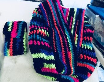 Multi colour crochet Market Bag, Tote Bag