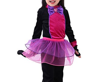 So Sydney Girls & Toddler Deluxe Black and Hot Pink Cat Halloween Costume, Accessories Included - Gloves, Ears, Tail, Tutu - Complete Set!