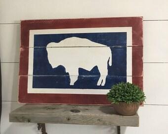 Wyoming Buffalo State Flag, University of Wyoming, State of Wyoming Pride, Home Decor Wyoming flag