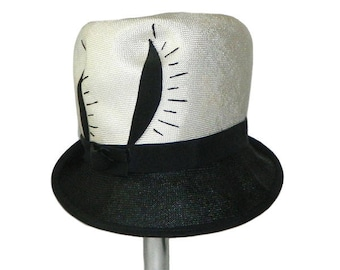 Vintage 1960's Black and White Straw Hat