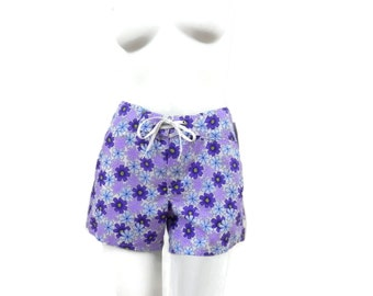 Jantzen Board Shorts for Electric Beach w/Purple Daisy Print Girl Surfer  NOS Dead Stock Vintage Clothing  sz S #491