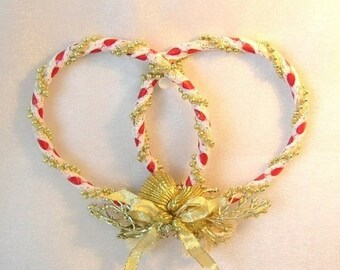 On Sale Red, White and Gold Sailor's Love Knot, Perfect For Valentines Day, Christmas or Shell Decor