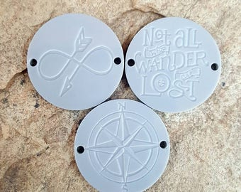 Laser Engraved Acrylic Circles - 3 Piece Set - Wander - Traveler - Laser Cut and Engraved Acrylic - Perfect for Wire Wrapped Bracelets