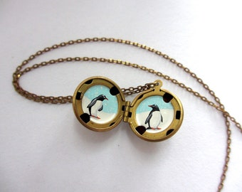 Penguins Hand-Painted Locket, Miniature Art Necklace, Teeny Spirit Animals