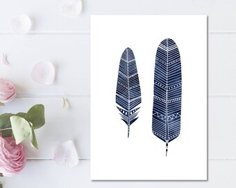 Navy Blue Feather Print Watercolour Art Feather Illustration Print Navy Blue Decor Nursery Wall Art Feather Art