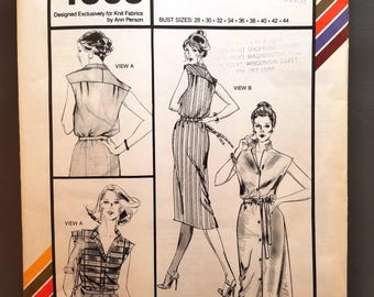 Stretch & Sew 1563 pattern, knit fabrics, Ann Person, Designer dress and blouse, Bust Sizes 28 to 44, Vintage 1980, Uncut, sleeveless blouse