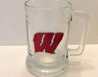Vintage Wisconsin Badgers metal W logo beer glass stein. Free ship to US