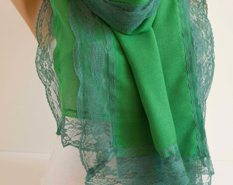 Spring Green Scarf Shawl Scarf  Lace Scarf  Summer Spring Scarf  Fashion Women Accessories  Gift For Her for Mom DIDUCI