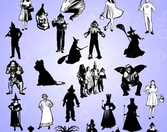 25 Wizard of Oz / Wizard of Oz silhouette /Wizard of Oz clipart/ Wizard of Oz SVG / PNG / EPS / vector file /High Quality /wizard characters