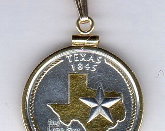 Necklace - 2-Toned Gold on Silver U.S. Texas Statehood Quarter Coin Necklace