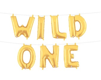 Wild One Letter Balloons Where the Wild Things Are Birthday Party Decor Gold Silver Mylar Letter Balloons First Birthday Party Banner