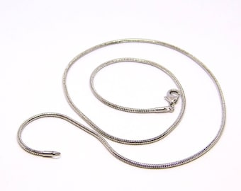 Chain link necklace tube 2 mm to 52 cm, silver, pendant, snake chain necklace
