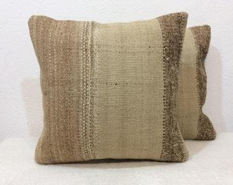 "Kilim pillow Pair 14""x14"" 35x35cm Handmade,Kilim cushion cover,Vintage,Home Decor,Old Kilim,Pillow cace,Turkish Kilim,Pair Pillows,Undyed"