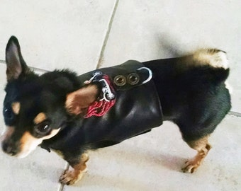 dog clothes Vest black faux leather motorcycle vest harness chihuahua clothes yorkie small dog harness Sample Size Small