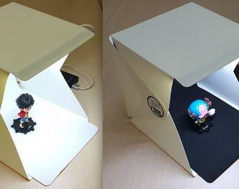 "Portable Photo Studio 9"" Lighting Mini Tent Kit for Product Photography. Foldable Softbox, Compact, LED, Backdrops, Light Box"