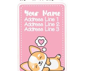 Cute Corgi Vertical Address Labels
