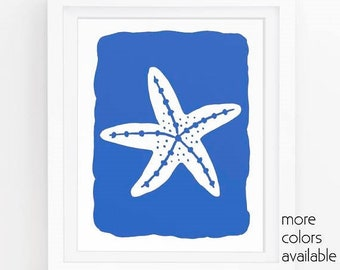 Blue starfish, Starfish print, Blue wall art, Starfish wall art, Ocean printable, Nautical art, Beach cottage decor, 5x7, 8x10, 11x14  209a