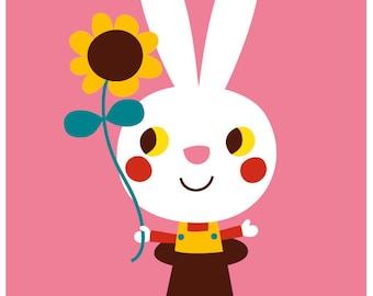 Happy Birthday - card & envelop - bunny