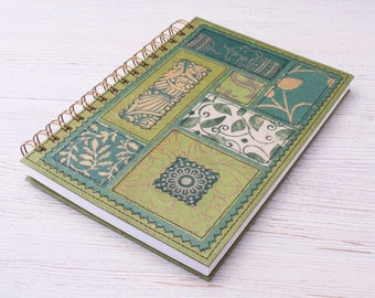 Dot Grid Notebook A5 green / recycled dot grid notebook / recycled journal / garden journal / travel journal / botanical notebook