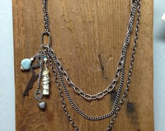Skeleton Key Vintage Charm Necklace