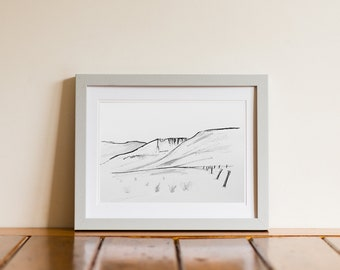 Comeragh Mountains Ireland Pen & Ink Drawing Giclee Print
