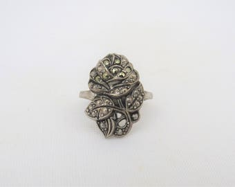 Antique Vintage Sterling Silver Marcasite Rose Flower Ring Size 6.75