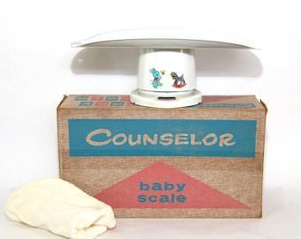 Vintage Metal Nursery Baby Scale/Original Box Like New!