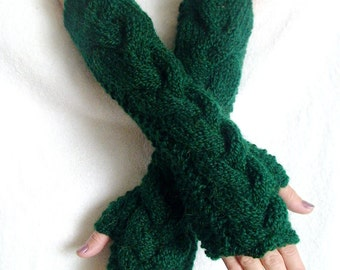 Fingerless Gloves Elbow Length Arm Warmers Dark Green Extra Long Chunky