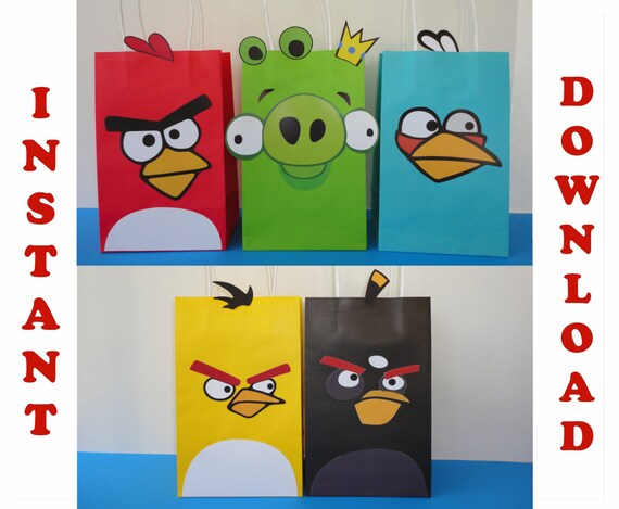 Angry birds favor bags angry birds birthday theme angry for Angry bird birthday decoration ideas