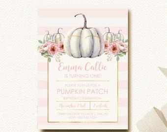 White Gold Pumpkin Birthday Invitation | Eyelash Pumpkin | Pink White and Gold | Girls Birthday