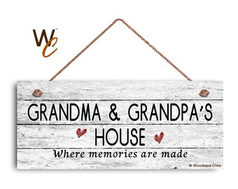 """Grandma and Grandpa's House Sign, Where Memories Are Made, Distressed Style, Gift For Grandparents, 6"""" x 14"""" Sign, Signs by Woodland Crew"""