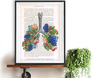 Flowery Lungs Anatomy Print on 1900 vintage page, Doctor gift, Anatomy Illustration, human anatomy art, science and anatomy drawing