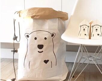 Sac en papier ours/blanc. Peints, de stockage ou des jouets, des livres, des ours en peluche à la main...