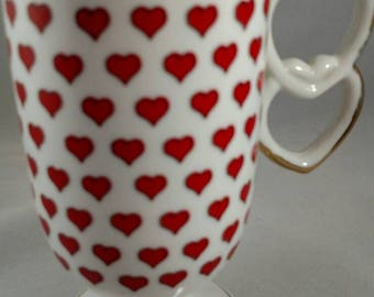 Valentine pedestal mug with heart handle by Enesco made in Japan