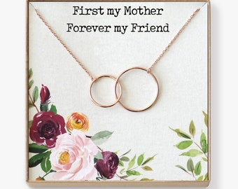 Mother Necklace: Mom Necklace, Mom Gift, Mother's Day Gift, Mother's Day Necklace, Mother Daughter Gift, 2 Interlocking Circles