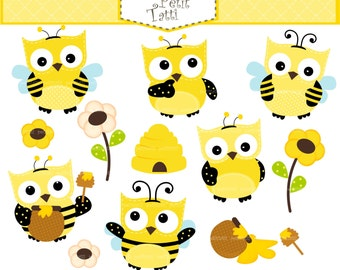 ON SALE owls clip art - owl pretend to bee clip art,bee clip art, cute baby owls clip art