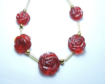 5 Pcs Very Attractive Red Quartz Hand Carved Rose Flower Beads Size  17X17 - 13X13 MM