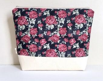 Floral project bag flower knitting bag Large project bag