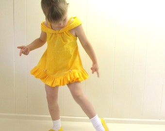 Belle Summer shorts SET in golden yellow... For your little beauty... available in any size from 6 months to 6 years