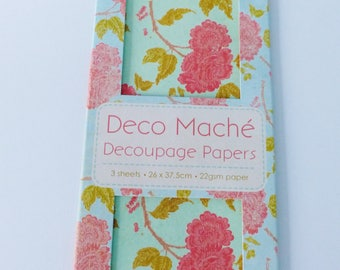 3 large sheets of decorative paper craft decoupage flower floral vintage pink and green orange bloom 26 x 37.5 cm first edition