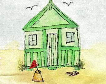 Seaside beach hut GREEN textile art greeting card (BHG)