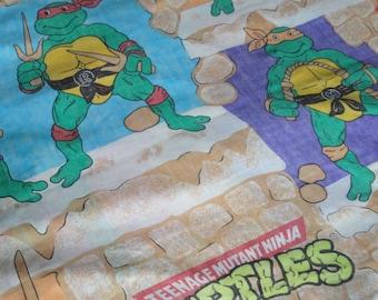 1 Vintage TMNT Teenage Mutant Ninja Turtles Flat Sheet - Donatello Raphael Michelangelo Leonardo - Retro Bedding, Sewing Fabric Craft Supply