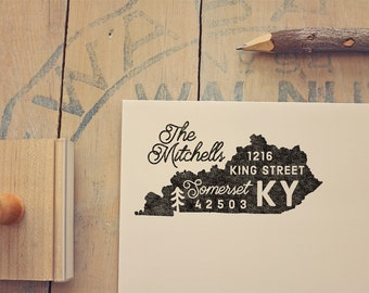 Kentucky Return Address State Stamp, Personalized Rubber Stamp