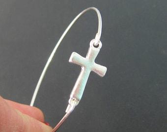Sideways Cross Bracelet, Silver Cross Bracelet, Faith Gift for Women, Cross Jewelry, Cross Bangle, Bracelet with Cross, Side Cross Bracelet