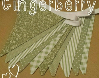 Pretty shabby chic bunting in sage green - floral gingham spots dots stripes
