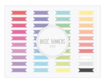 Digital Banner Clip Art Set 'Basic Banners Stitch' Instant Download Graphics for Blog, Web, Card Design, Baby Shower or wedding Invites...