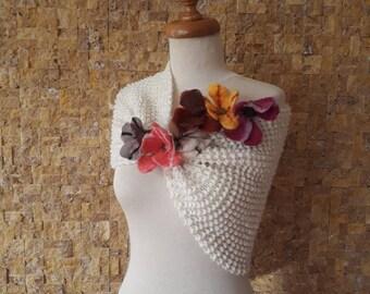 Wedding shawl,- For him her gift - bride shawl,  Knitting shawl